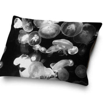 White Moon Jellyfish - Pet Bed, Black Ocean Nautical Pet Bedding, Beach Surf Style Coral Fleece Pet Accessory. In 18x28 30x40 50x50 Inches