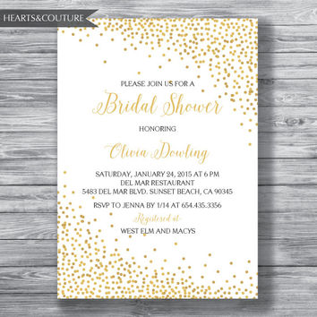 Bridal Shower Invitation, WEDDING SHOWER INVITE, Gold Polka dot invitation,polka dots, bridal invitation,bridal shower,printable,digital
