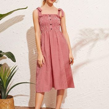 Button Front Shirred Gingham Cami Dress