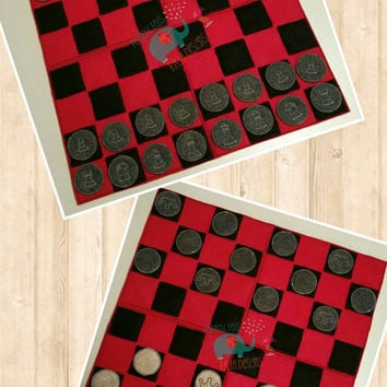 Chess or Checker board game embroidered, activity, classic game, travel, travel game, busy book, quiet game, game room game night family fun
