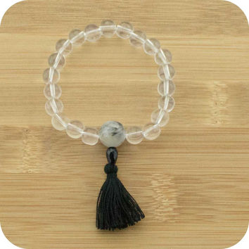 Quartz Crystal Mala Beads Bracelet with Tourmilated Quartz