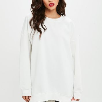 Missguided - White Fleeceback Oversized Crew Neck Sweatshirt