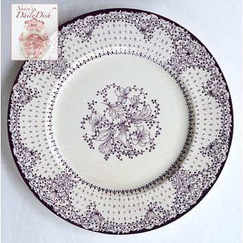 "Vintage Purple Transferware Plate Clarice Cliff Lace and Flowers 10"" Dinner Plate"