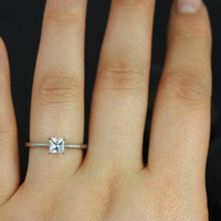 Gallina 4.5mm 14kt White Gold Princess White Sapphire Cathedral Looped Engagement Ring (Other metals and stone options available)
