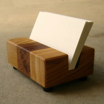 Wood Business Card Holder, Desk Business Card Holder, Retro Modern