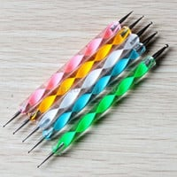 Set 5 PCS two way Dotting Pen Marbleizing Tools Kits Nail Art Dot Paint Design New.