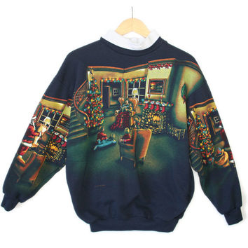 Vintage 90s Art Unlimited Santa Christmas Scene Ugly Sweatshirt
