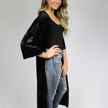 Velvet Tapestry Duster Cardigan - Black