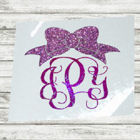 Glitter Decal, Sticker for Water Bottle, Monogram Decal, Yeti Glitter Bow