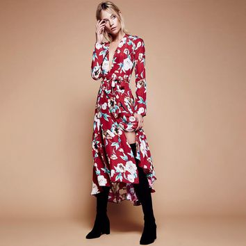 Fashion High Waist Flower Print Deep V-Neck Long Sleeve Cardigan Maxi Dress