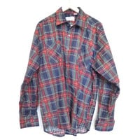 Vintage Flannel - 90's Plaid Flannel Shirt Button Up Grunge - Spring Button Up Layer - Size XL