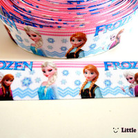 "1 / 3 / 5 Yards 1 inch Frozen Design Print on White Grosgrain Ribbon - 1"" ribbon by the yard - Frozen Ribbon - Cartoon Ribbon"