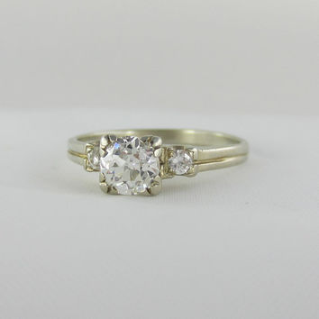 Antique Engagement Ring, Old European Cut Diamond set in White Gold Triple Prong Setting.  Appraisal Included.