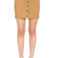 Button Up Wheat Jean Mini Skirt