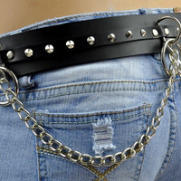 Gothic Leather O Ring Belt with Cone Spikes Chains
