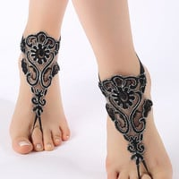 Black silver floral Barefoot Sandals, french lace, Nude shoes, Gothic, Foot jewelry,Wedding, Victorian Lace, Sexy, barefoot sandals
