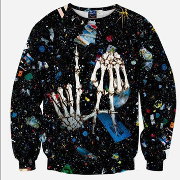 Los Angeles LA Skeleton Hands Space Galaxy Crew Neck Sweatshirt Men & Women Harajuku Style All Over Print Black Sweater