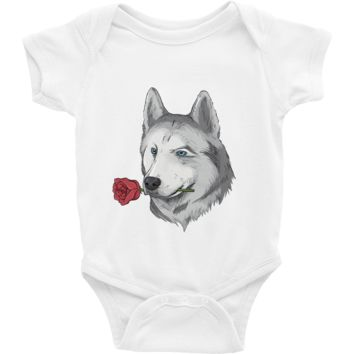 Husky Baby Girl Onesuit | Funny Siberian Dog Romper | The Jazzy Panda