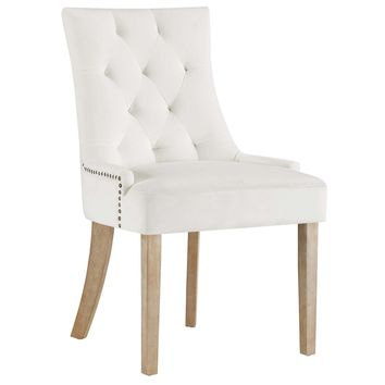 Pose Upholstered Fabric Dining Chair In Ivory