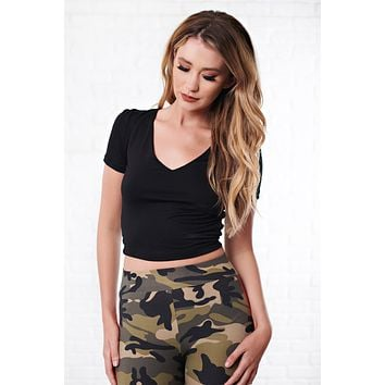 Maggy V-Neck Crop Top (Black)