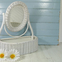 Vintage Oval White Woven Wicker & Wood Vanity Cheval Mirror - Mid Century Boudoir Basket - Cottage Chippy Paint Shabby Chic Dresser Decor