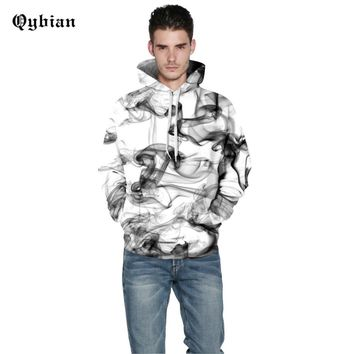 Qybian Simple Hooded Sweatshirt Men Women 2017 Funny smoke Printed Mens Hoodies Harajuku Hoodie Men Hoody Sweatshirts