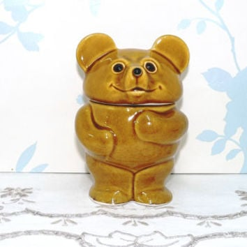 Teddy Bear Honey Pot and Lid, Bear Figurine, 1970's, Novelty Honey Pot, R Moss Ltd, vintage, kitsch, collectable, Kitchenalia, Homewares