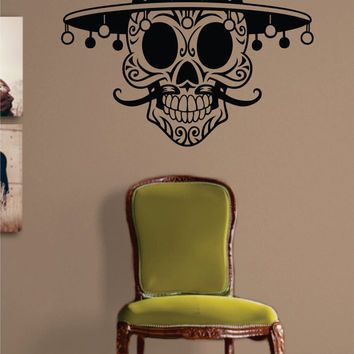Mexican Sugar Skull Art Decal Sticker Wall Vinyl