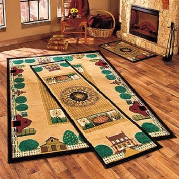Country Farm Rug Area Accent Runner Set Cabin Primitive Rustic Sun Crops Decor