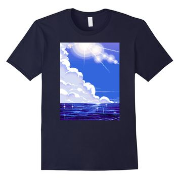 Blue Sky Clouds Sea Ocean Beach Summer Vaporwave Aesthetic