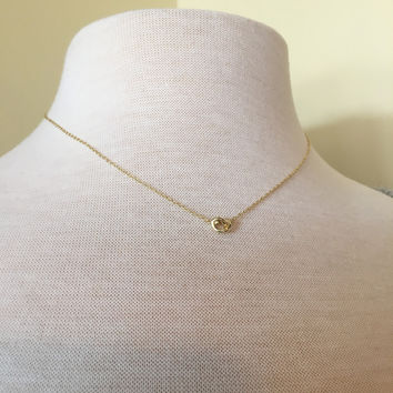 Gold Plated Sterling Silver Love Knot Necklace