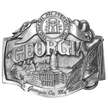 Sports Accessories - Georgia on my Mind Antiqued Belt Buckle