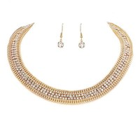 Double Rows Crystal Rhinestone Gold Chain Choker Necklace Set