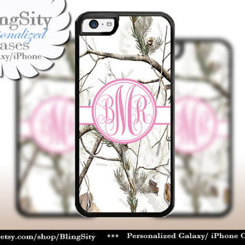Snow Camo Pink Monogram iPhone 5C 6 Plus Case iPhone 5s 4 Cover Ipod White Realtree Personalized Country Inspired Girl