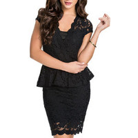 made2envy Tracey Lace Overlay Mini Peplum Dress
