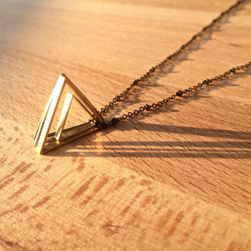 Gold Triangle Necklace Geometric necklace Sacred Geometry jewelry Long Triangle necklace Womens Mens Triangle necklace Illuminati Tri delta
