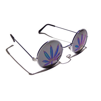 FREE SHIPPING, Mary Jane round cannabis sunglasses mirror lenses pot leaf marijuana hemp hologram holographic 90s grunge sunglasses glasses