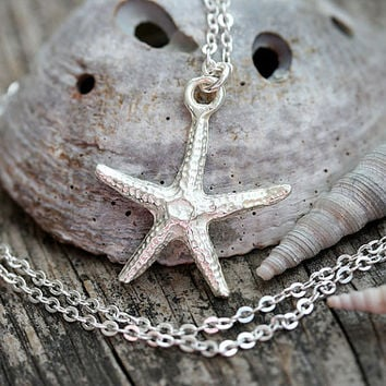 Silver Starfish Necklace, Beach Jewelry, Dainty Layered Necklace, Starfish Pendant, Simple Wearable, Beach Necklace, Starfish Jewelry