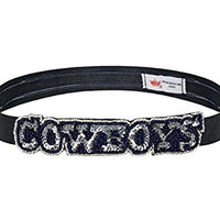 NFL Dallas Cowboys The Grace Collection Sequins and Beads Elastic Hairband, 9.5 x 2.5 x .13-Inch, Blue