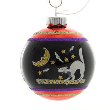 Shiny Brite HALLOWEEN SIGNATURE FLOCKED.. Glass Ornament Ball 4026976S C