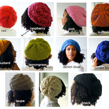 Seed Stitch Slouchy Beanie, Black Satin Lined Hat, Knit Beanie with Inner Lining for Natural Hair