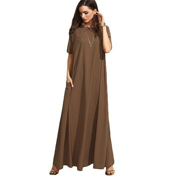 Summer Casual Long Dresses For Woman P Brown Crew Neck Short Sleeve Zipper Back Loose Shift Maxi Dress