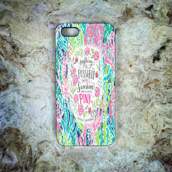 Lilly Pulitzer Quote Colorfull Print On Hard Plastic Cover Skin Case For iPhone