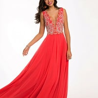 Coral Silk Chiffon Prom Dress 99155 - Prom Dresses