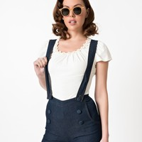 Voodoo Vixen Navy Blue Denim June Shorts with Braces