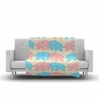 "NL Designs ""Pastel Elephants On Parade"" Pastel Animals Fleece Throw Blanket"