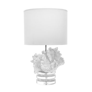 Coral And Crystal Table Lamp In White With White Suede Shade