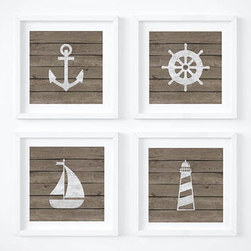 Printable, Nautical Decor, Nautical Print, Anchor, Sailboat, Nursery Decor, Rustic Decor, Rustic, Nautical, Weathered Wood, Nursery Art
