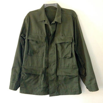 Army Jacket Mens Size Medium-Large Unisex Womens Size Large Hunter Green Combat Coat