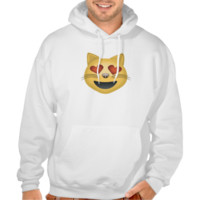 Smiling Cat Face With Heart Shaped Eyes Emoji Hooded Pullover